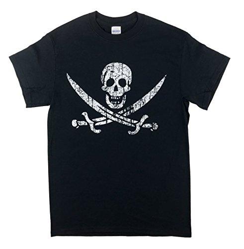 Pirate Flag Jolly Roger Calico Jack T-Shirt (Large, Black)