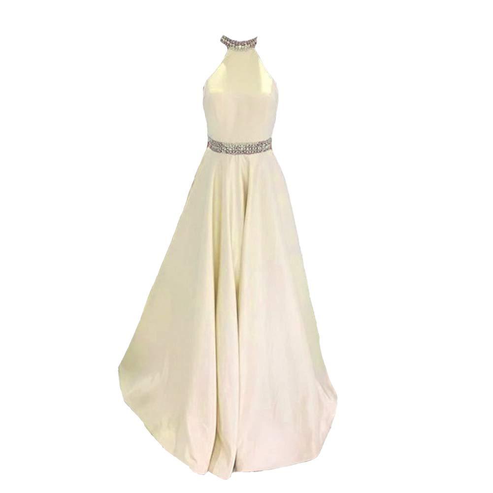 Beige Kivary Women Beaded Halter Satin Long Backless Formal Prom Dresses Evening Gowns