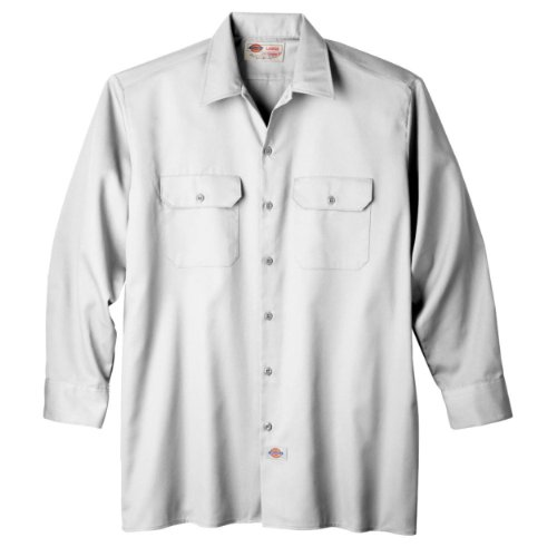 Dickies Men's Long Sleeve Work Shirt, White, 2X ()