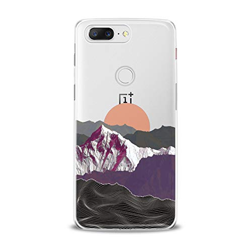 Lex Altern TPU Case for OnePlus 7 Pro 6T 6 2019 5T 5 2017 One+ 3 1+ Sun Creative Gray Clear Phone Mountain Cover Print Women Man Girls Violet Modern Protective Design Flexible Silicone Fancy Wave -