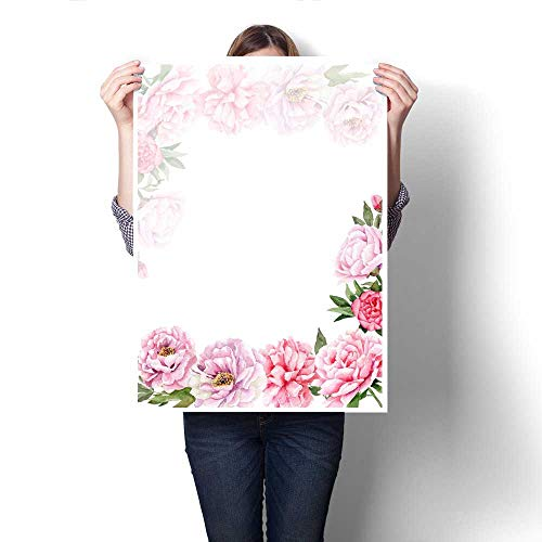 Prints Watercolor Drawings of Peonies Templates for Letters Invitations Logos Customizable Wall Stickers 32