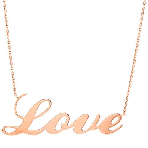 High Polish 14k Rose Gold Simple Love Script Pendant Necklace by JewelryAmerica