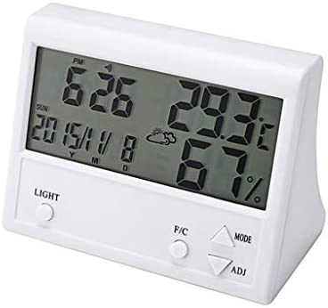 CHenXy ホーム屋内サーモ湿度計、LCDバックライト、多機能、高精度ベビールーム、オフィス 湿度計温度計 (Color : A)