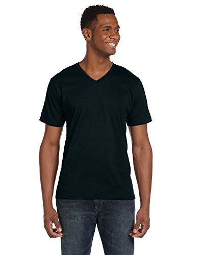 Anvil® 100% Ring Spun Cotton V-Neck T-Shirt - Black - XX-Large