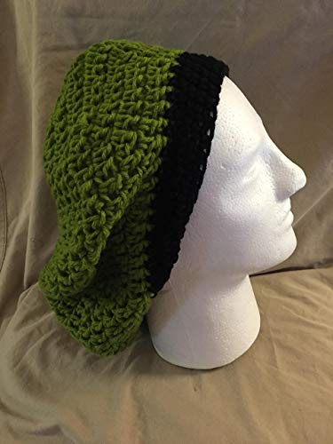 Crochet Beret Slouchy Cap - fits most teens & adults - Medium Green & Black trim - smoke free - pet free - free shipping to USA