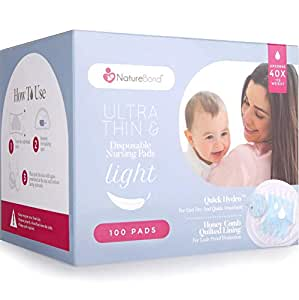 NatureBond Disposable Nursing Breast Pads 100 Pcs. Ultra Thin, Light, Contoured and Highly Absorbent Breastfeeding Milk Pads