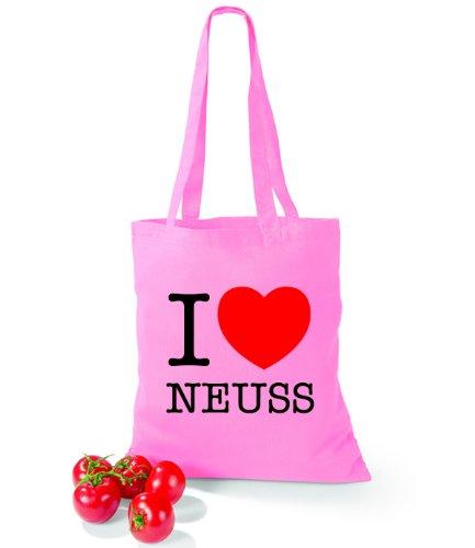 Artdiktat Baumwolltasche I love Neuss Classic Pink