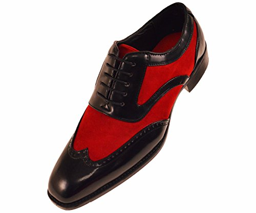 (Sio Formal Tuxedo Oxford Mens Dress Shoe, Two-Tone Smooth Suede Wingtip Lace-Up Red)