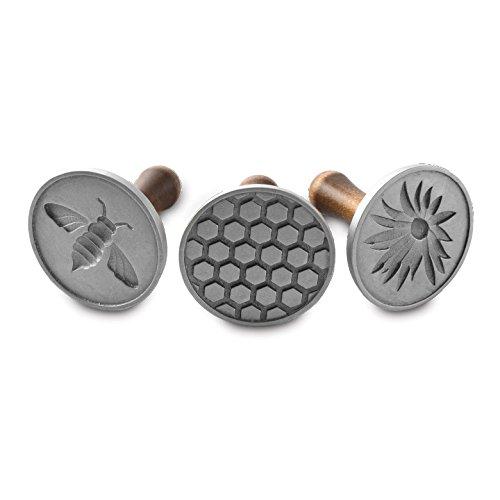 Nordic Ware Honeybee Cast Cookie Stamps, Metallic