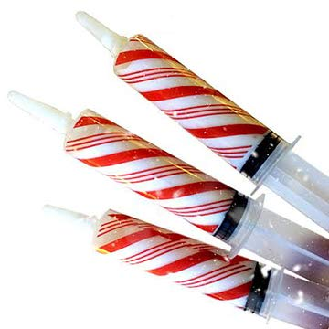 EZ-Inject Medium Jello Shot Syringes w/White Peppermint Candy Cane Drink Mix and Wrappers (25-Pack) Exclusive Christmas Holiday Drink Party Kit | Reusable, Easy to Use
