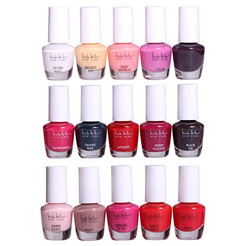 Nicole Miller Striped Mini Nail Polish Set - 15 Glossy and Trendy Colors (Skin Tone Polish Nail)
