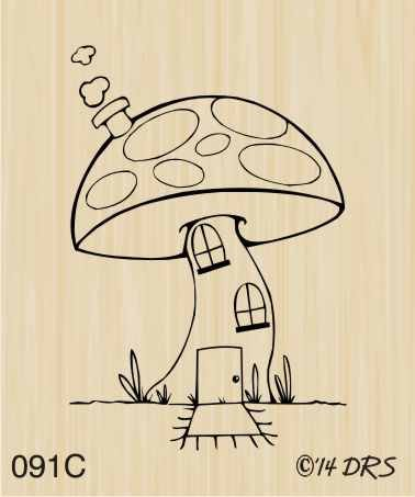 Mushroom House Rubber Stamp By DRS Designs