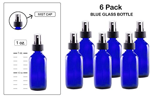 Mist spray/Glass Medicine Bottle, Amber Boston Cobalt Blue Round Bottles 1OZ. 6Pack - For Essential Oils, Scents, Travel, Perfume Kitchen, Bath, Cooking, Labs, Laundry, Cosmetic.- Re-Usable -By Katzco