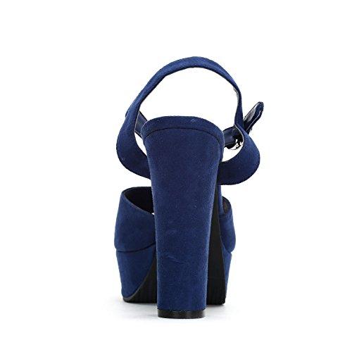 ESTRADÀ by Scarpe&Scarpe - Sandalias altas con correa en el tobillo y hebilla, con Tacones 14 cm Azul