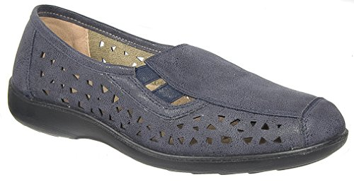 Boulevard Womens Ladies Slip On Shoes/Navy Blue Waxy Casual