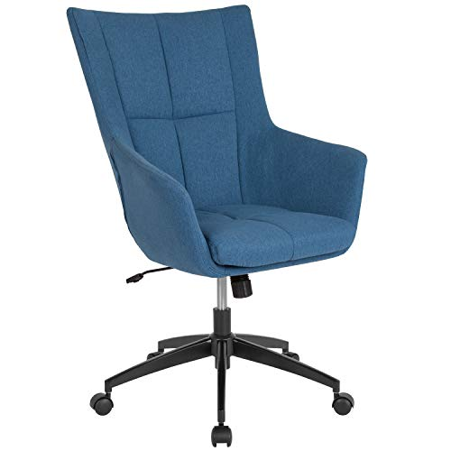 Flash Furniture Barcelona Home and Office Upholstered High Back Chair in Blue Fabric