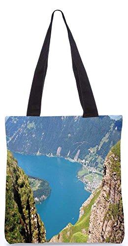"""Snoogg Blick Auf Die Berge Von Oben Tragetasche 13,5 X 15 In """"Einkaufstasche Dienstprogramm Trage Aus Polyester Leinwand"""