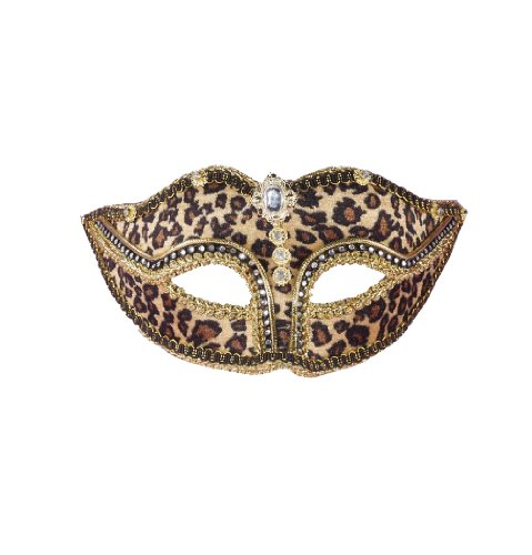 Forum Leopard Print Venetian Mask, Multi-Colored, One (Print A Halloween Mask)