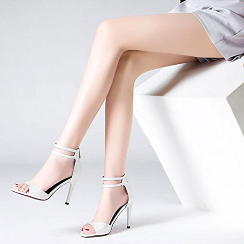 Shoes Fish Heeled Sole Mouth High Female Fashion Sexy Heel Summer Heel Sandals Thin White Wrap TPR Slippers 6nwxwFAvq