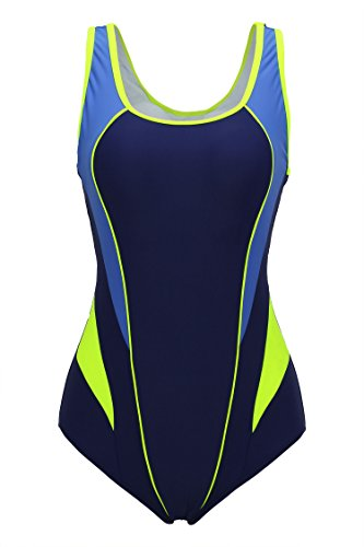 ReliBeauty Womens Hollow Back One Piece Swimsuit Blue