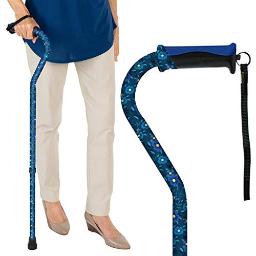 Vive Walking Cane - for Men & Women - Portable, Adjustable Offset Balance Stick - Lightweight & Sturdy Mobility Walker Aid for Arthritis, Elderly, Seniors & Handicap (Blue Floral) (Best Cane For Balance Problems)