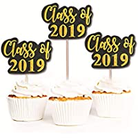 Astra Gourmet Graduation Cupcake Toppers(16 Pack), Congrats Grad Graduation Picks Black Gold Decor for Grad Party Decoration Graduation Party Favors Supplies