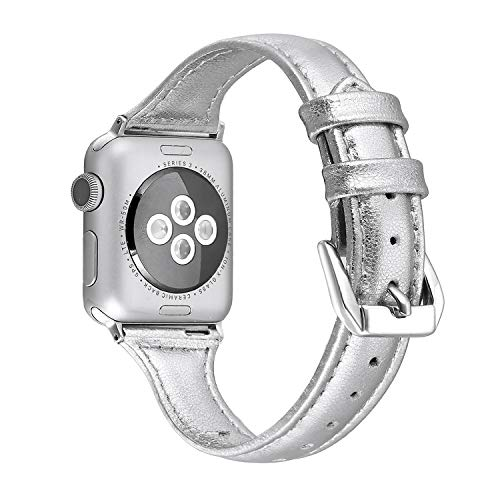 atible Apple Watch Band 42mm 44mm Slim Replacement Wristband Sport Strap for Iwatch Nike+, Series 4 3 2 1, Edition Stainless Steel Buckle, Silver ()