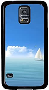 Blue Ocean Sky White Clouds Boat Samsung Galaxy S5 Case Pattern Monogram Durable Protective Case for Black Cover Skin - Compatible With Samsung Galaxy S5 SV i9600