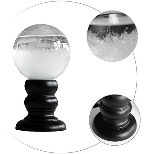 LoveBefound Weather Predict Crystal Ball Globe Storm Glass with Wood Stand Modern Creative Desktop Office Home Kitchen Decor Mother Day Gift (White)