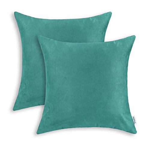 - CaliTime Pack of 2 Cozy Throw Pillow Covers Cases for Couch Bed Sofa Super Soft Faux Suede Solid Color Both Sides 20 X 20 Inches Teal