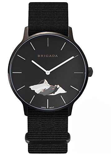 BRIGADA Swiss Watches for Men, Nice Cool Black Fashion Men's Watch Nylon Band, Great Gift for Families, Lover, Friends Or (Swiss Made Watch)