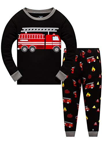 Boys Pajamas Fire Truck 100% Cotton Pjs Toddler 2 Piece Long Sleeve Sleepwear Kids Clothes Set 3t-10t