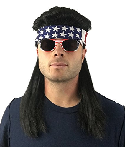 4 pc. Mullet Wig + Bandana + Sunglasses: 80s Mullet Party Wig and Hillbilly Costume or Redneck Costume (Country Black Mullet Wig + USA Bandana + USA (Black Mullet Costume)