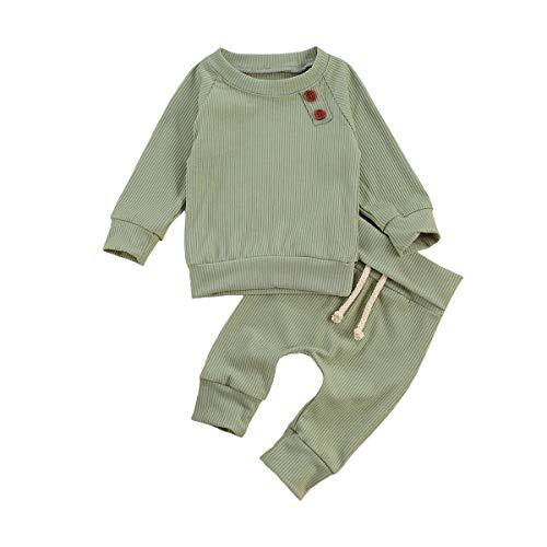 Pasgeboren Baby Meisje Jongen Kleding Outfit Lange Mouwen Gebreide Effen Kleur Top en Broek Set Baby Herfst Kleding Set