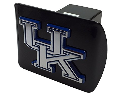 University of Kentucky METAL emblem (chrome with royal blue trim) on black METAL Hitch Cover (Kentucky Trailer Hitch Cover)