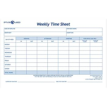 AmazonCom  Pyramid Weekly Time Sheet Pads Pk   Office