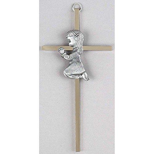 Praying Little Girl Silvertone 6 Inch Metal Hanging Wall Cross (Praying Wall Cross Girl)