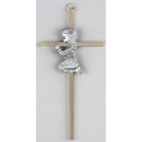 Praying Little Girl Silvertone 6 Inch Metal Hanging Wall Cross (Wall Praying Girl Cross)