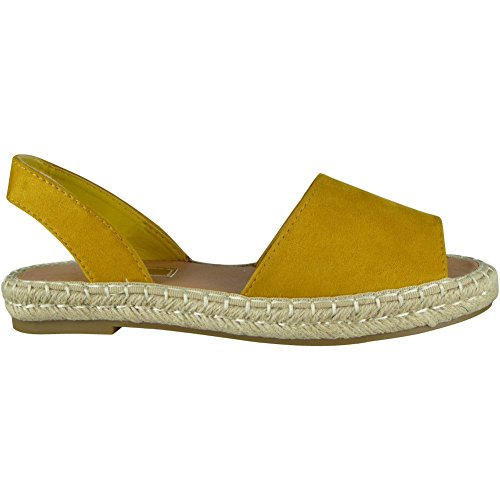 Womens Shoes Look Size Elastic Ladies Loud Slingback Espadrilles Peeptoe Sandals Yellow 8 3 Summer xqY56Zxw