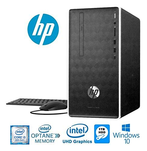 HP Pavilion Business Desktop, 8th Gen Intel i3-8100 (3.6GHz & 6MB Cache), 4GB DDR4 + 16GB Intel Optane Memory, 1TB HDD, DVD-Writer, HDMI, 802.11AC, Bluetooth 4.2, Windows 10 (Renewed)