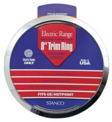 (Stanco Range Trim Ring Fits G.E. & Hotpoint Electric Ranges Chrome Plated Steel, Porcelain 8 In.)
