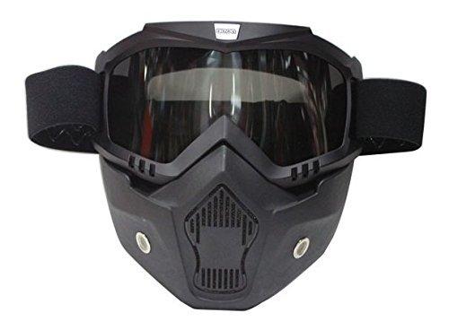 [해외] BEON 페이스 마스크 떼내어 가능 오픈 페이스 오토바이 허프 헬멧용 BE-MASK-BK