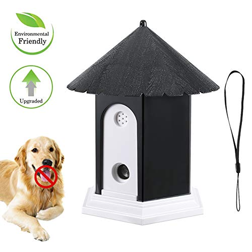 Ultrasonic Dog Bark Control Outdoor Dog Anti Bark Preventive Stop Barking Device Cute Bird House Box Design Waterproof for Home Garden Hanging Battery Operated