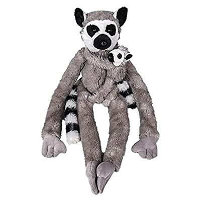 Wildlife Tree 25 Inch Stuffed Ring-Tailed Lemur Mom and Baby Plush Floppy Zoo Primate Family Collection: Toys & Games