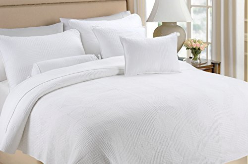 (Cozy Line Home Fashions Square Maze Solid White 100% Cotton Quilt Set, Reversible Bedding Bedspread Coverlet,for Bedroom/Guestroom(Maze - White, Queen - 3 Piece))