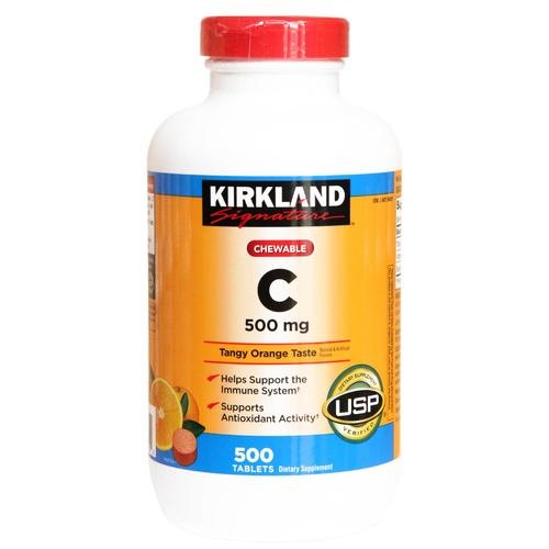 Kirkland Signature Chewable Vitamin C 500 Mg Tangy Orange Taste: 500 Tablets (Signature Vitamin Kirkland C)