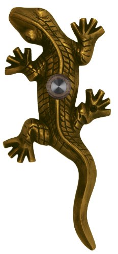 Waterwood Brass Large Lizard / Gecko Doorbell in Antique Brass