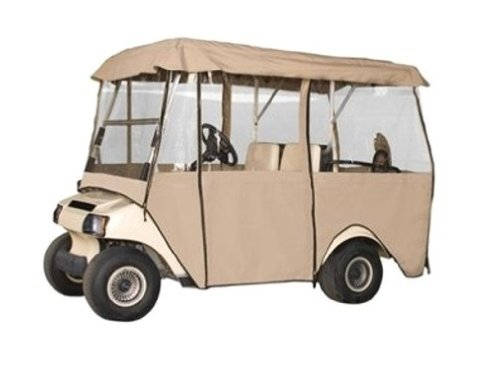 Classic Accessories Fairway Deluxe 4-Sided 4-Person Golf Cart Enclosure, Tan by Classic Accessories (Image #1)