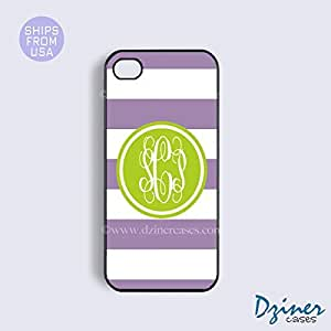 Monogrammed iPhone 4 4s Case - Purple White Stripes Green Circle iPhone Cover