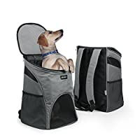 Becko 3 in 1 Scratch-Resistant Pets Bag Carrier/Padded Pet Outdoor Backpack/Dog Travel Single-Shoulder Bag with Mesh Window and Tuck Away Straps for Pet up to 10~18 Pounds (Large & Strengthening)